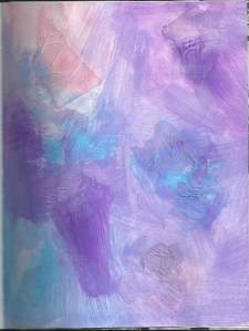 Pastel drawing using acrylic paint and paper napkins